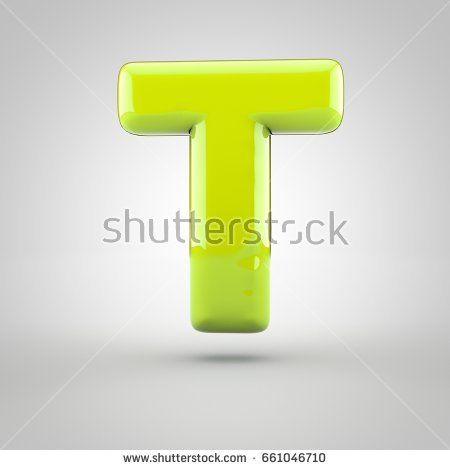 Glossy Lime Paint Letter T Uppercase 3d Render Of Bubble Font With
