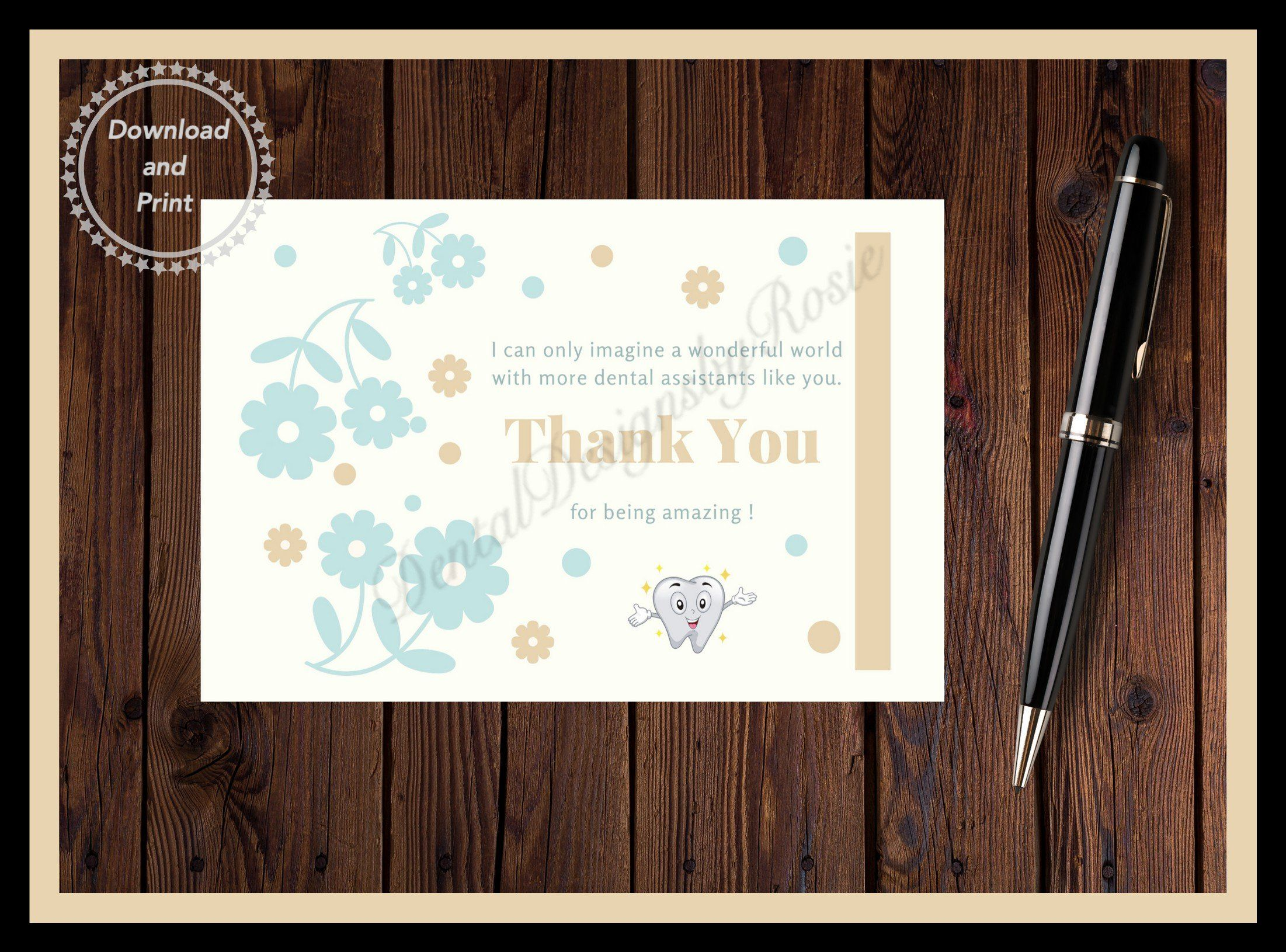 Printable Thank You Card For Dental Assistants Instant Download Printable Thank You Cards Thank You Cards Your Cards