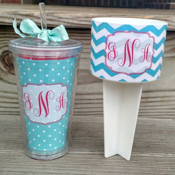 Monogrammed Set Beach Spiker And Insulated Tumbler Personalized Cup Holder Monogram