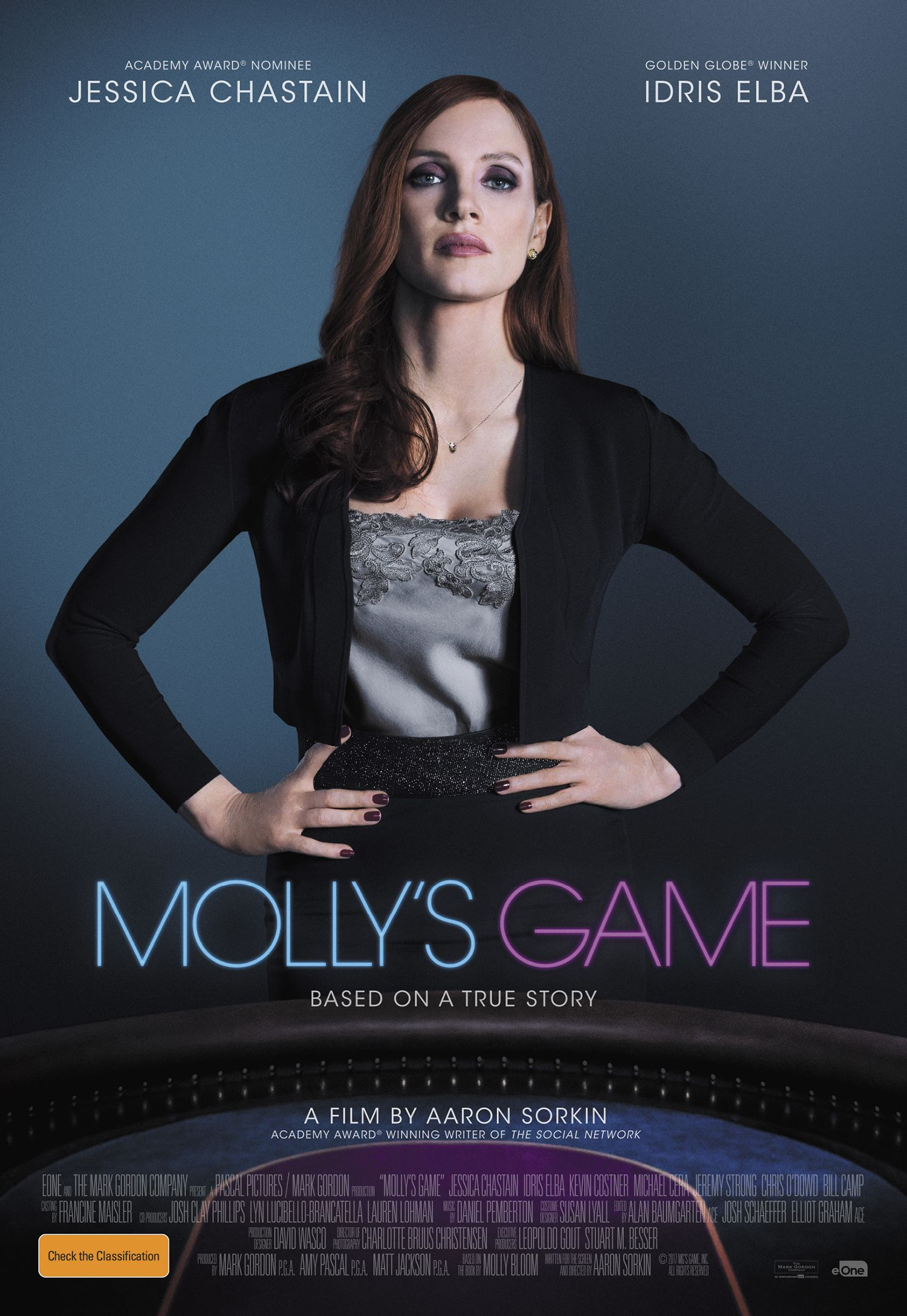 MOLLY'S GAME is the best of Jessica Chastain and adds Idris Elba, Kevin  Coster, Michael Cera and is written and directed by dialogue master Aaron  Sorkin ...