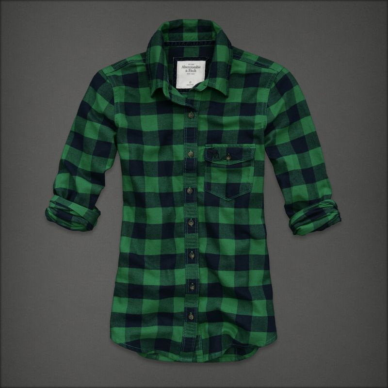 Womens Fitch Plaid Long Sleeves Green Black Plaid Shirts Long Sleeves 79d15ff60