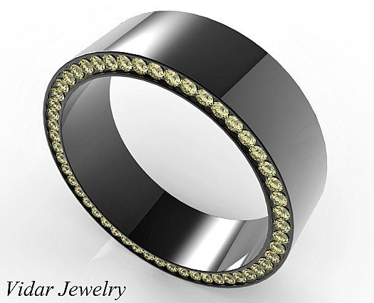 Black Gold Fancy Yellow Diamonds Men S Wedding Band Unique For Mens Diamond Ring Wide