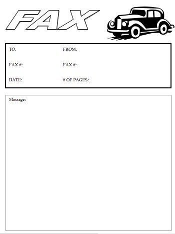 Model car collectors, antique car dealers, car show organizers - fax cover sheet free template