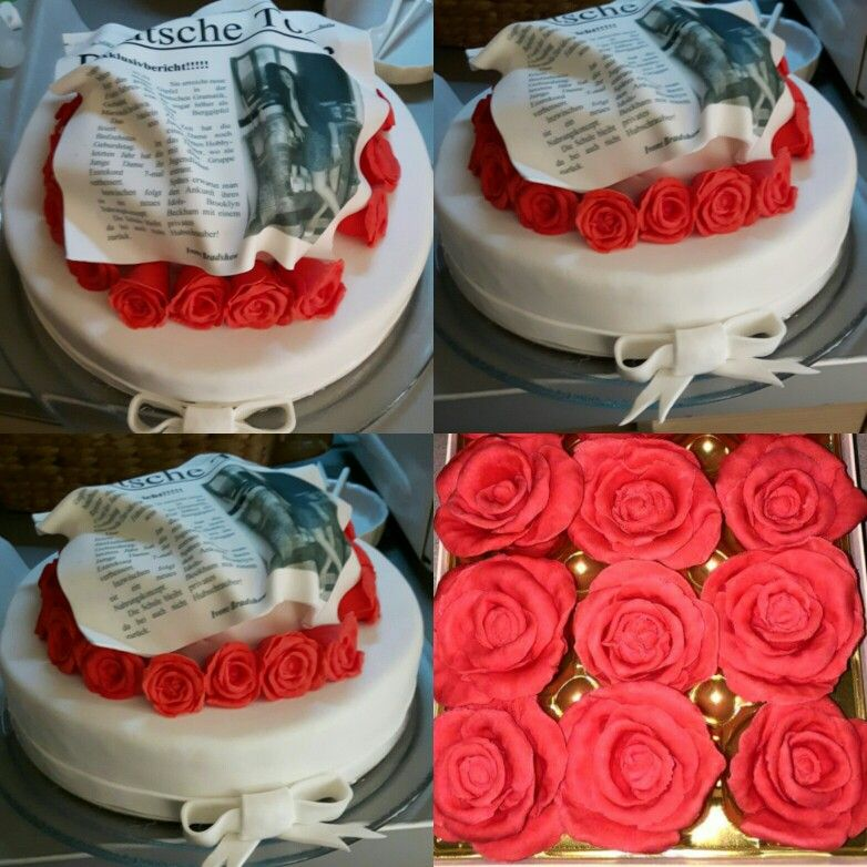 Deutsche Torte  Fondant cake with red fondant roses