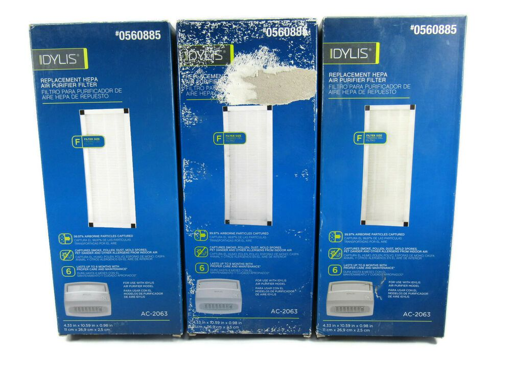 Lot of 3 Idylis HEPA Air Purifier Filter Model AC38 / AC