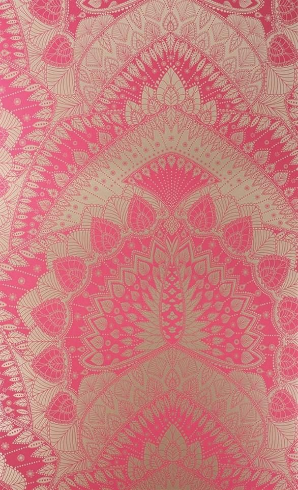 Azari Wallpaper in Pink and Gold by Matthew Williamson for