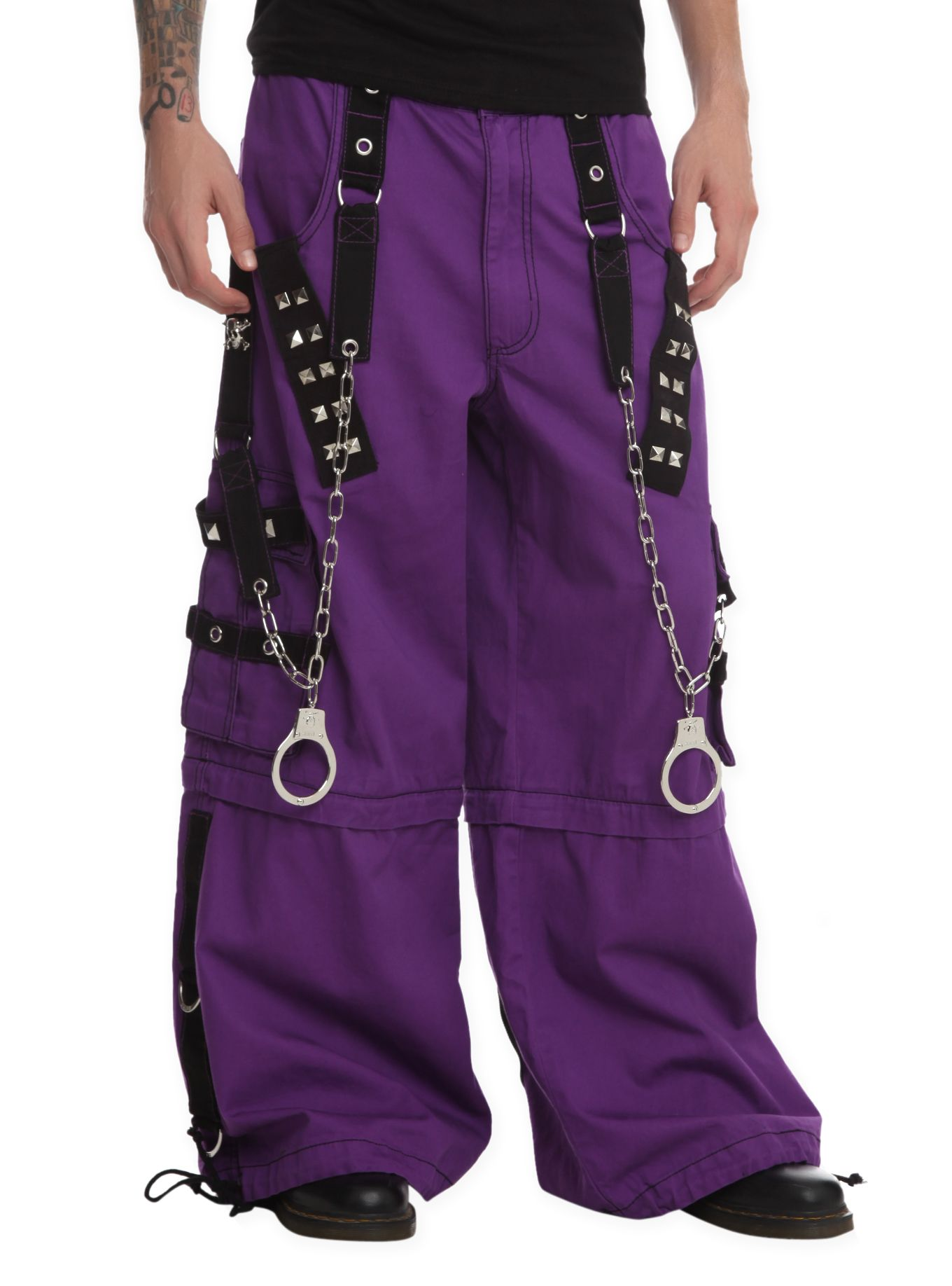 ad1594346e799 Tripp Purple   Black Grommet Stud Chain Pants