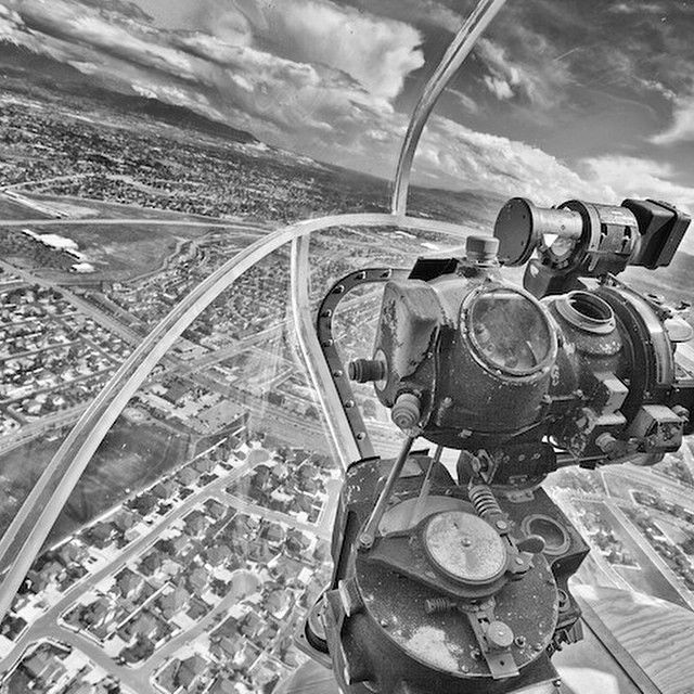 View from the gun bubble of a Flying Fortress.  Is gun bubble the technical term? #disciplesofflight #aircraft #aviator #aviation