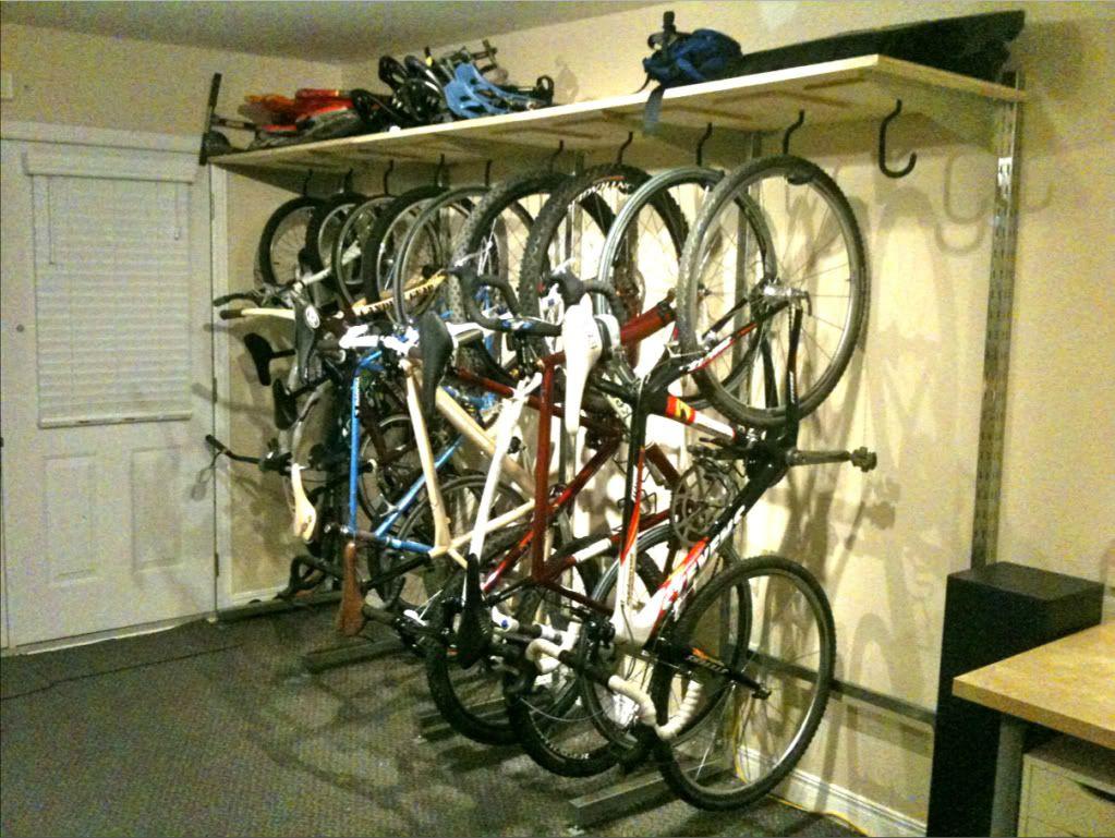 Http Forums Mtbr Com 29er Bikes Multiple Bike Rack Inside House 586187 2 Html Bikes Jpg 1023 769 Hanging Bike Rack Bike Storage Garage Bike Rack