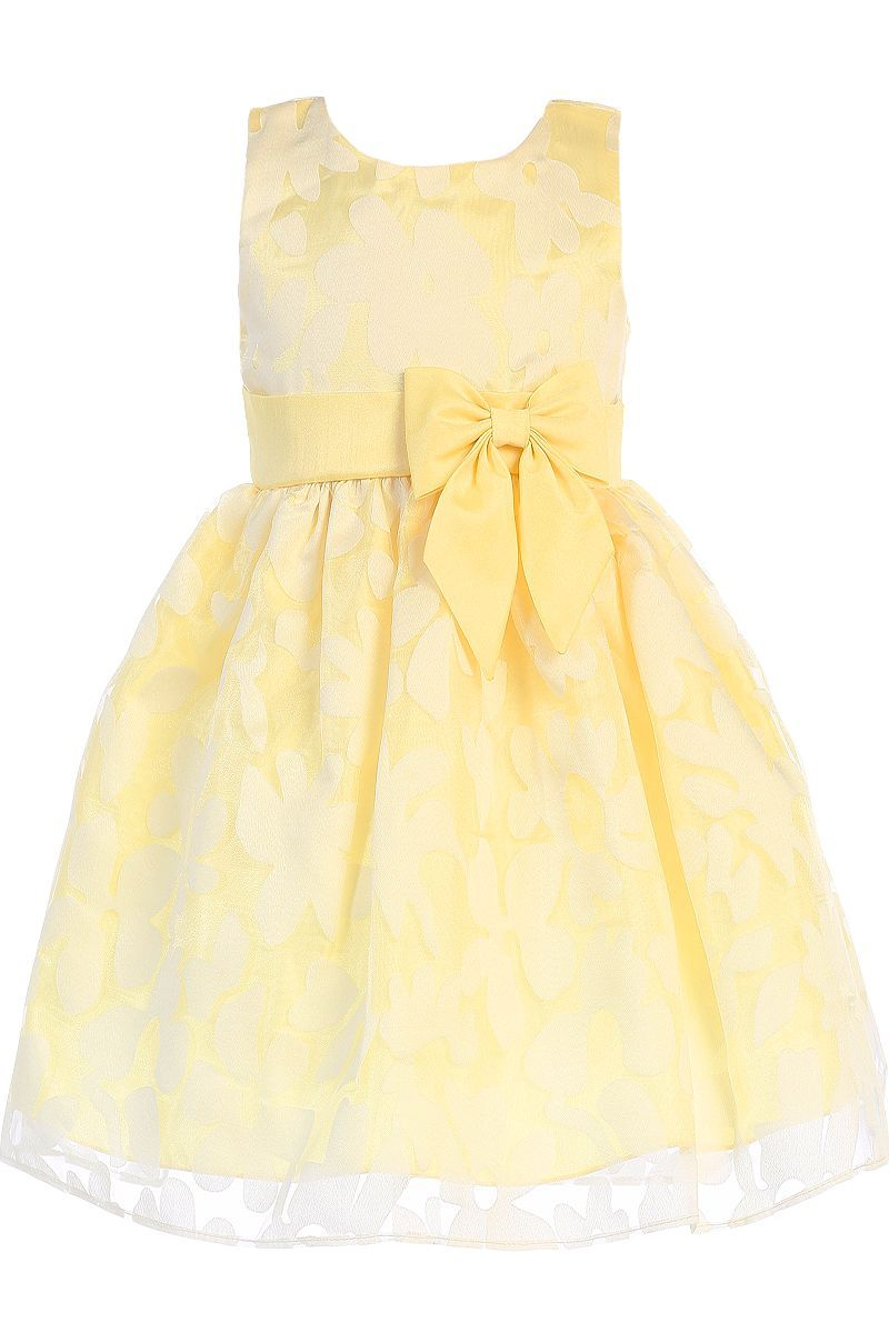 693e76a00943 Yellow Floral Burnout Organza Overlay Easter Spring Dress (Baby ...