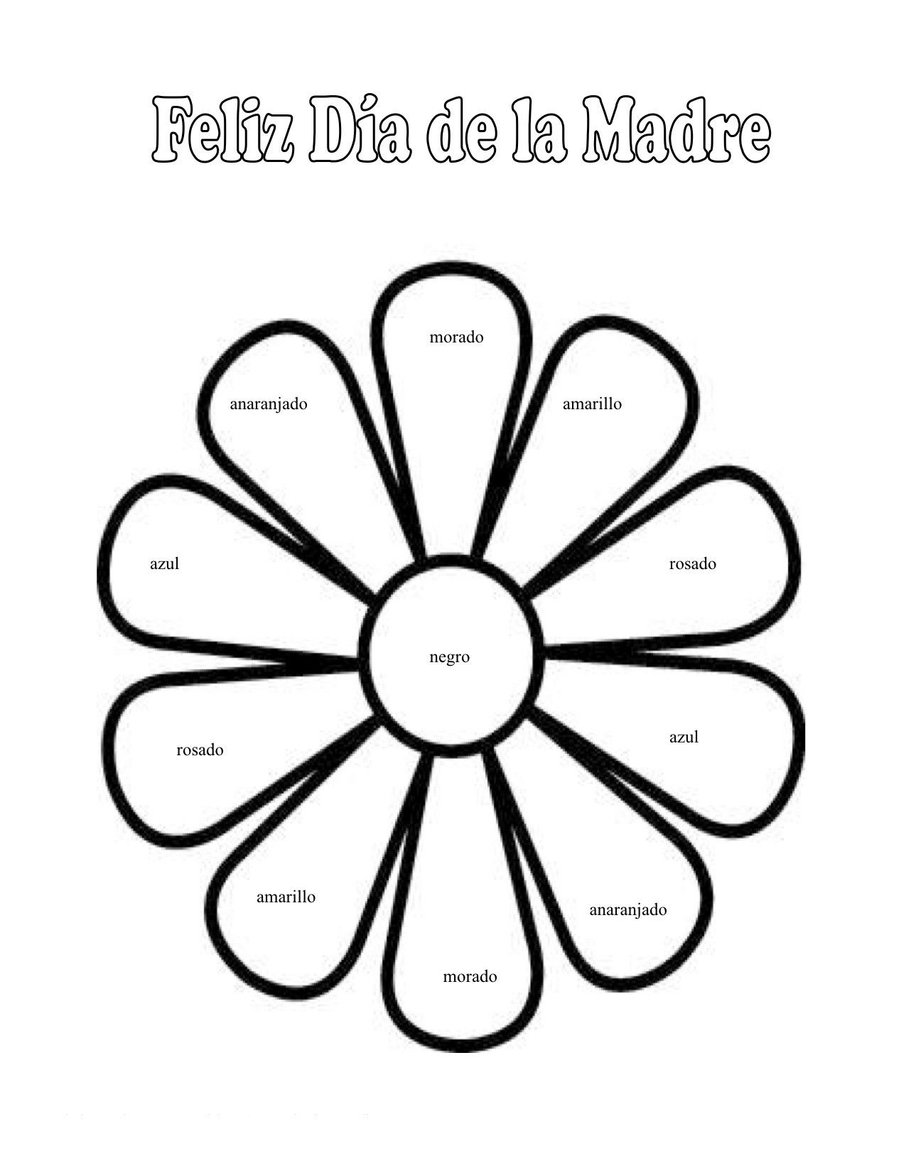Spanish colors for preschool - Spanish Preschool Happy Mothers Day Colors Worksheet Earth