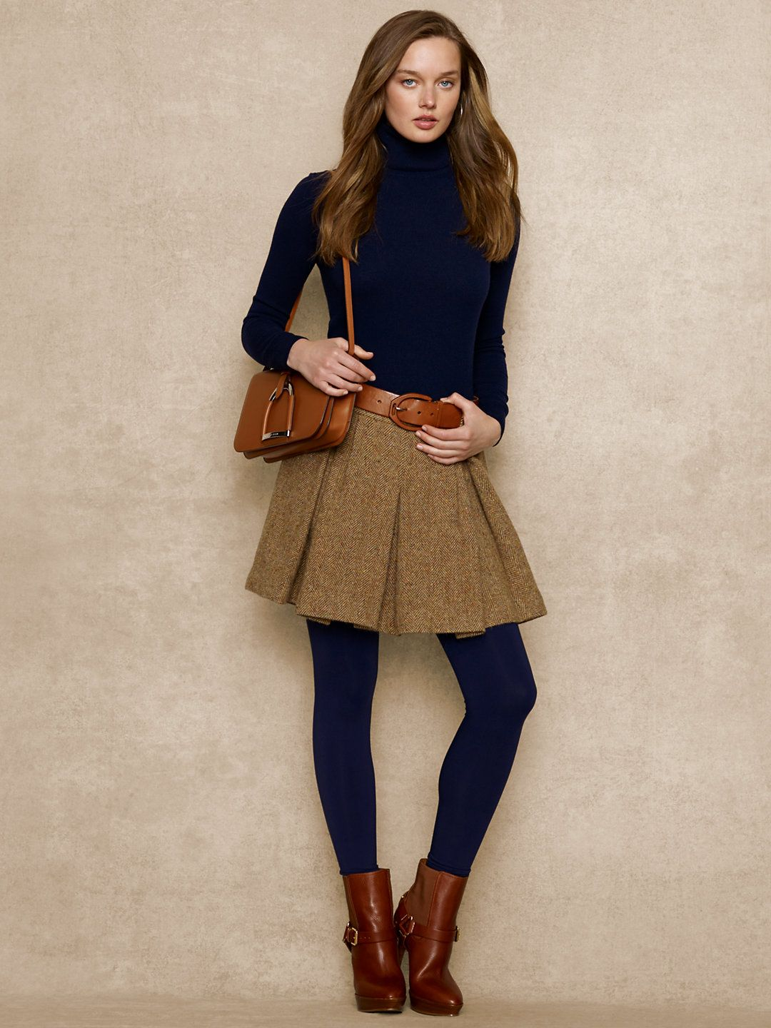 short brown tweed skirt magee navy jumper navy brown tights brown boots  oxford brown cross over bag  navy pea coat