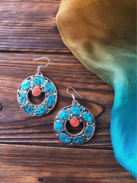 ac98463f9 beauty gift , Vintage turquoise, lapis lazuli and coral earrings, Tibetan  drop earrings, Nepali eleg