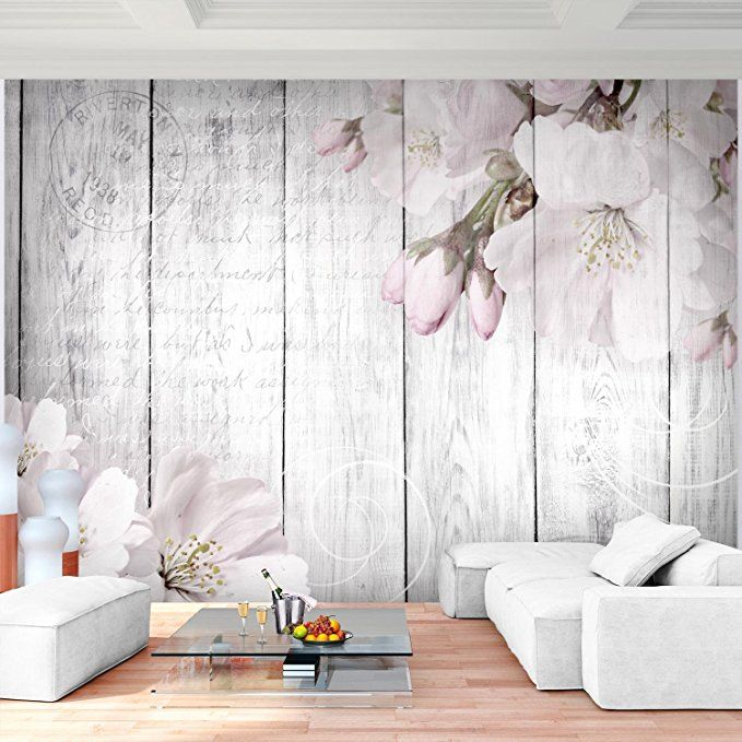 Schlafzimmergestaltung Wand Modernes Schlafzimmer Wand: Fototapete Blumen Grau 396 X 280 Cm Vlies Wand Tapete
