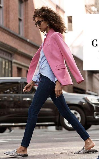 dark skinny jeans + light blue button up shirt + pink blazer