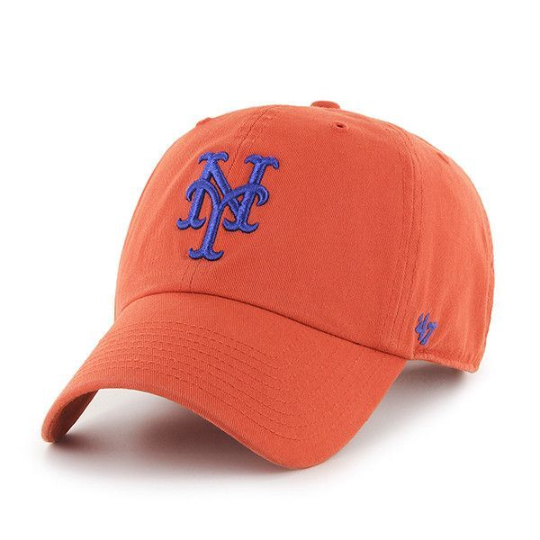 online store b5685 f1aba ... discount new york mets 47 brand orange clean up adjustable strap slouch hat  cap 52bcf 00469
