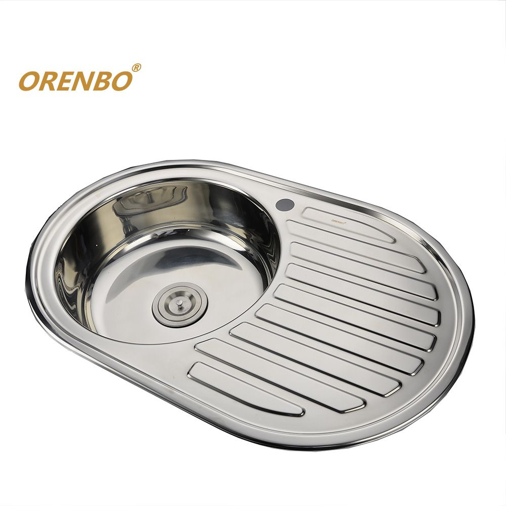 ORENBO Right-wing Round Kitchen Sink Kitchen Faucet Sink Stainless ...