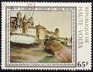 Sello: Trent Castle (Alto Volta) (Albrecht Durer) Mi:BF 732,Sn:BF 481