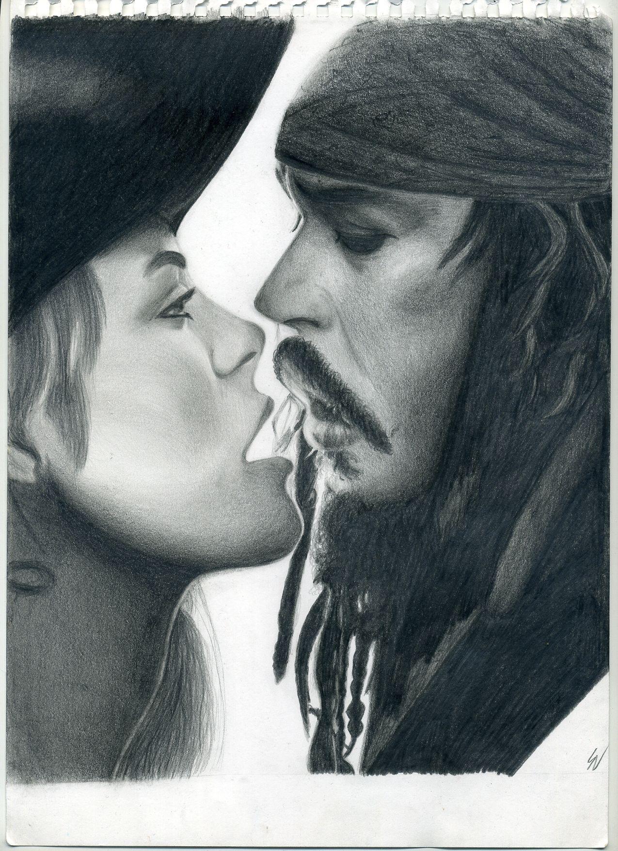 Pirati Dei Caraibi Disegno.Il Bacio Tra Jack Sparrow E Elisabeth Tratto Dalla Saga De I