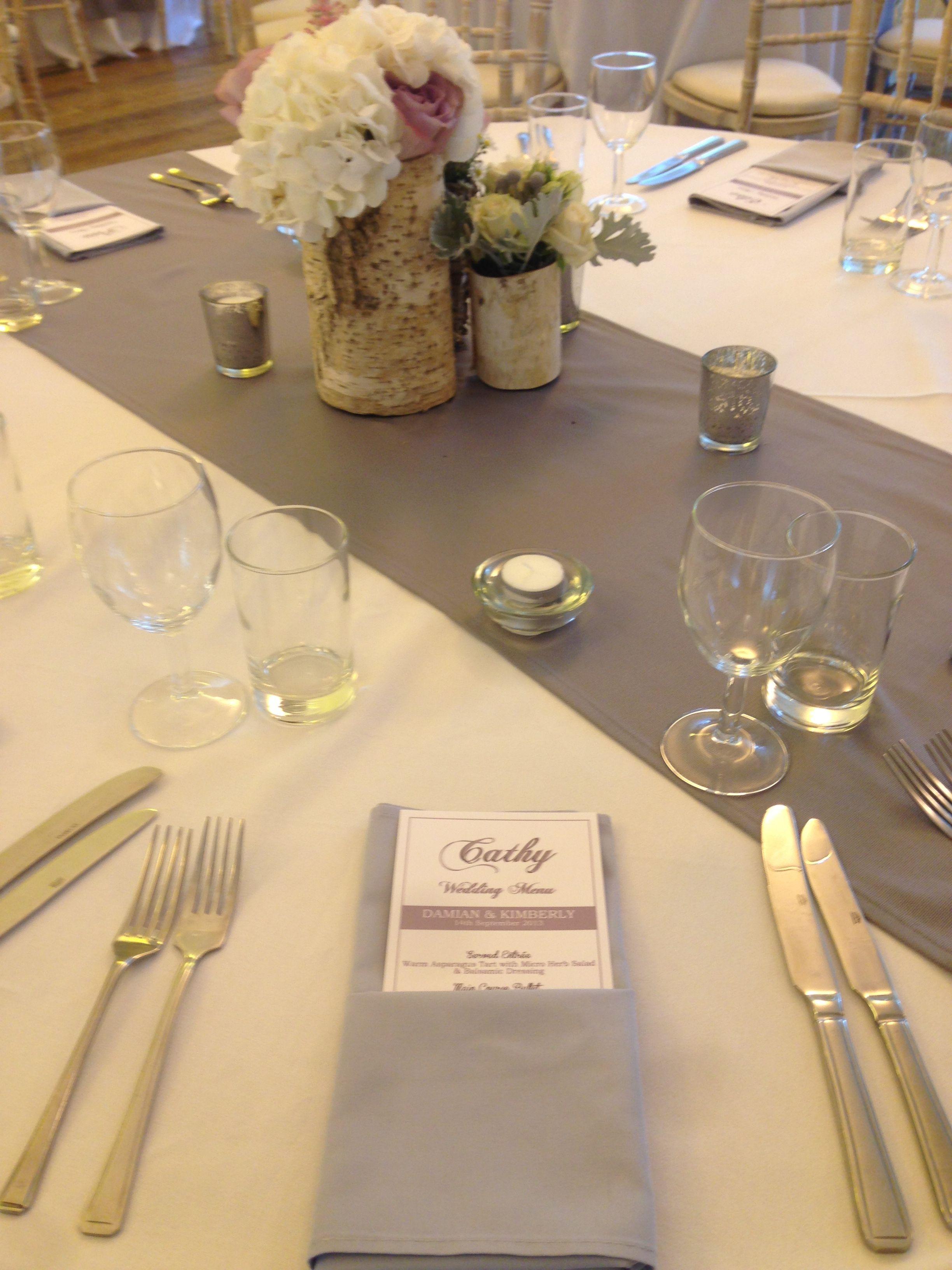 Grey Table Runners And Napkins Hessian Wedding Yellow Grey Weddings Wedding Table