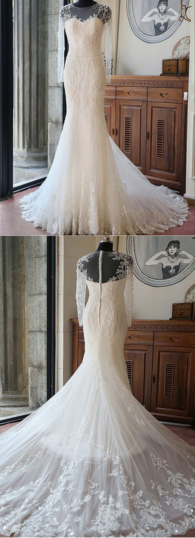 Sexy long sleeves mermaid lace wedding party dresses unique back