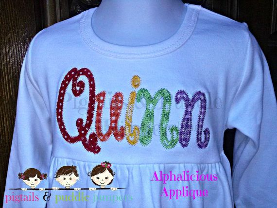 Happy day cursive applique font lowercase embroidery
