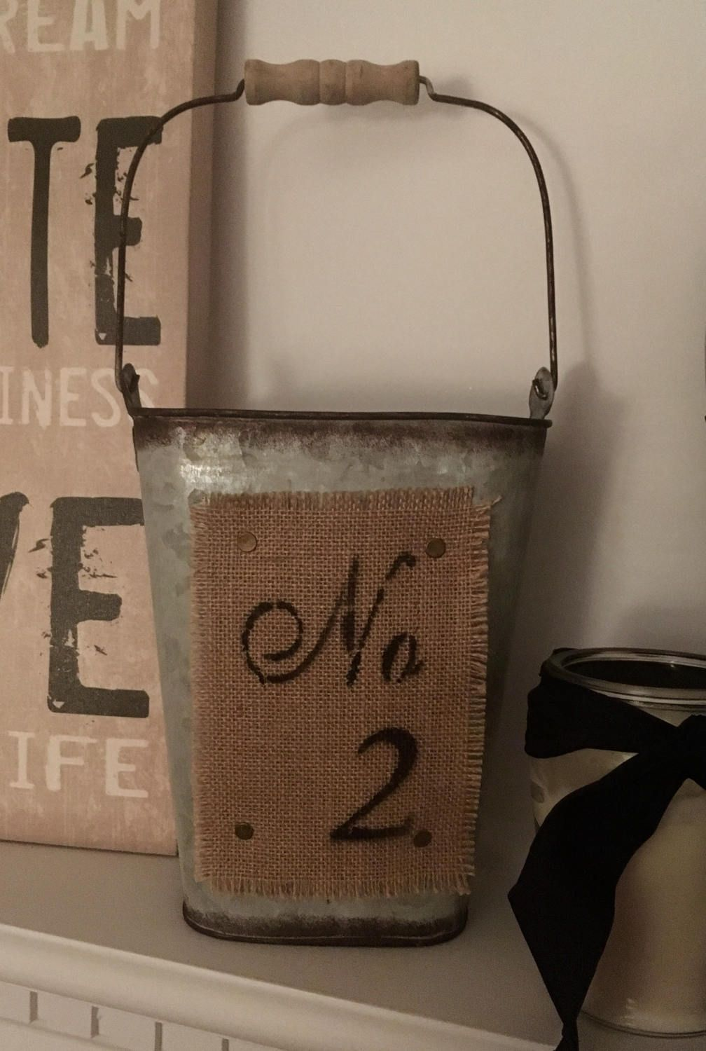 Metal and burlap bucket/canister/storage/Rustic/Farmhouse