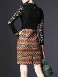 Pierced Lace Wool Blend Mini Dress