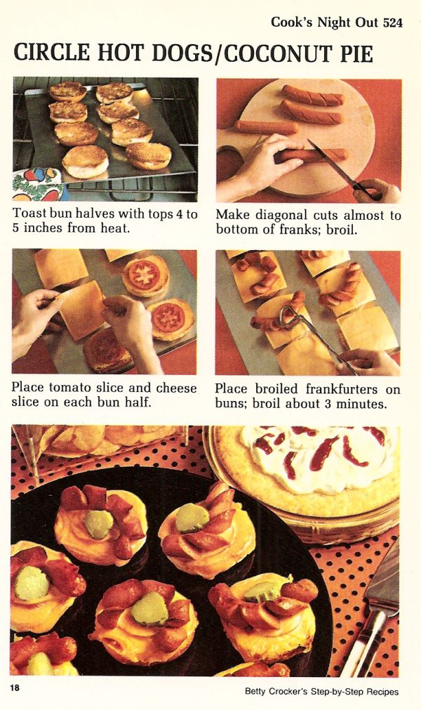 Circle hot dogs and coconut pie vintage recipe card betty crockers circle hot dogs and coconut pie vintage recipe card betty crockers step by step forumfinder Gallery