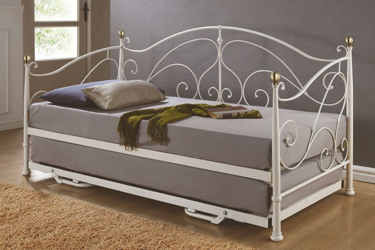 Milano Metal Daybed With Trundle In Cream With Scroll Design