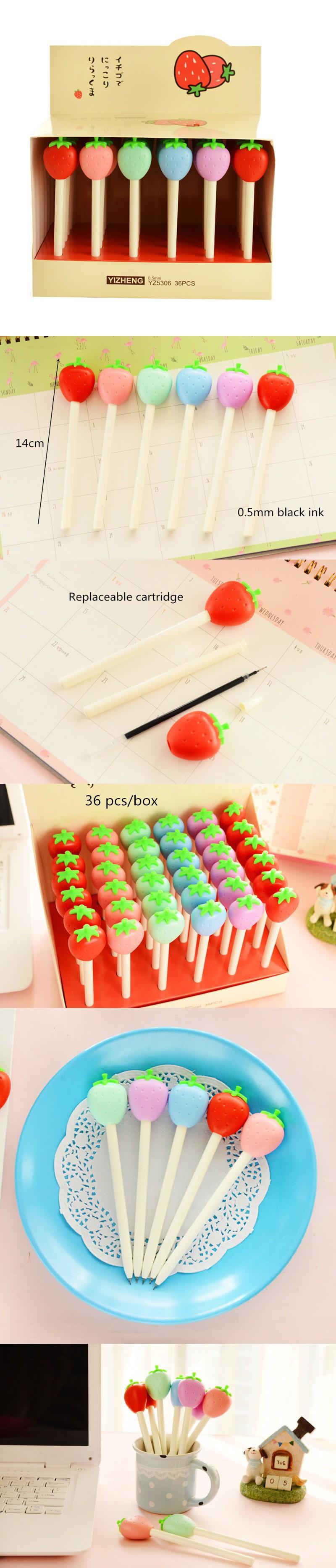 36 pcs/Lot Cute Japanese Sweet Kawaii Fruits Strawberry lollipop gel pen black ink Pens Kids Stationery Office School Supplies $27
