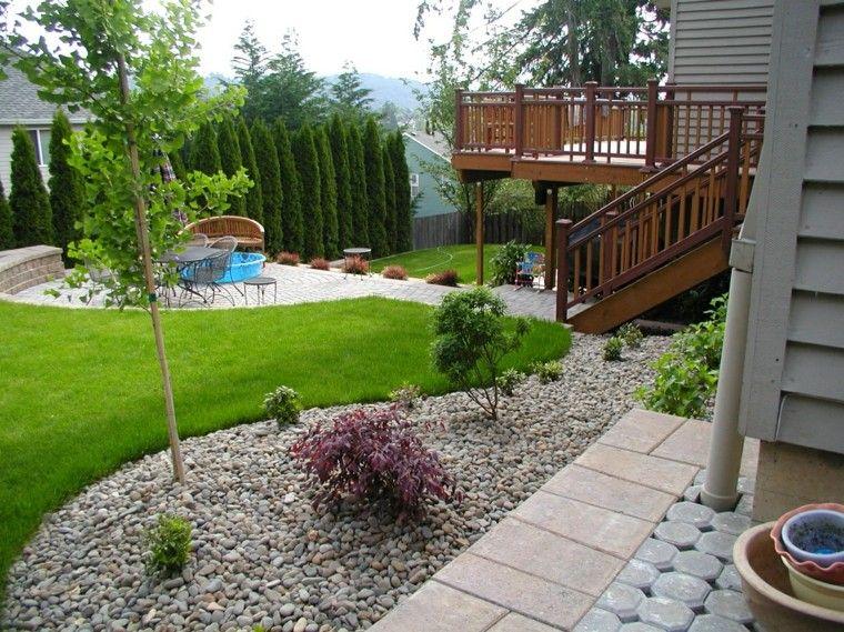 diseñar un jardin rocas terraza patio escaleras Jardín Pinterest
