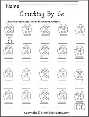 Free Count by 5s Snowflakes Worksheet. | Kindergarten Math | Pinterest