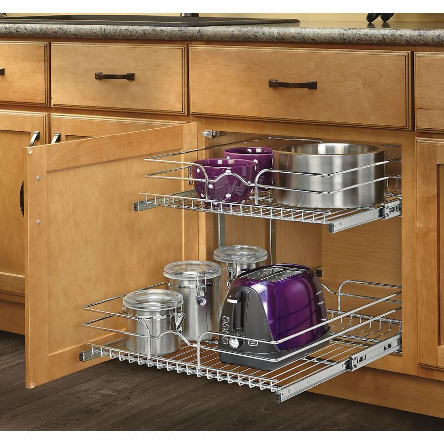 Rev A Shelf 19 In H X 14 75 In W X 22 In D Base Cabinet: Shop Rev-A-Shelf 20.75-in W X 22.06-in D X 19-in H 2-Tier
