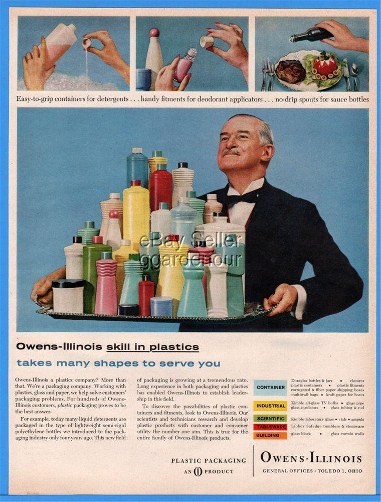 1960 Owens Illinois Toledo OH Plastic Containers Bottles