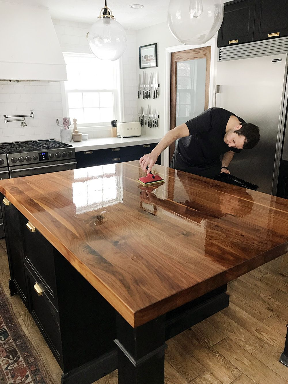 How We Refinished Our Butcher Block Countertop Cheap Kitchen Countertops Kitchen Remodel Countertops Cheap Countertops