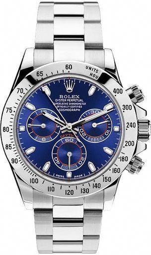 Rolex Daytona 116520 Stainless Steel Custom Blue Dial Chronograph Watch
