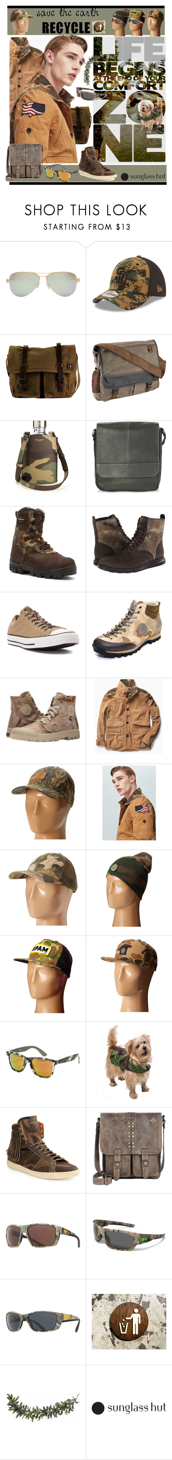 """Go Camo! Recycle!"" by yours-styling-best-friend ❤ liked on Polyvore featuring Tiffany & Co., New Era, DamnDog, Yves Saint Laurent, Kenneth Cole Reaction, LaCrosse, Cole Haan, Converse, Napapijri and Palladium"