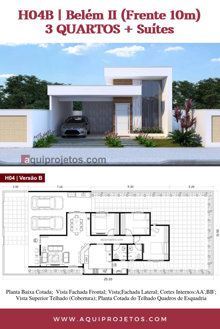 Projeto De Casas Belem Ii Planta De Casa H04b Fachadas De Casas Terreas Plantas De Casas Fachadas De Casas