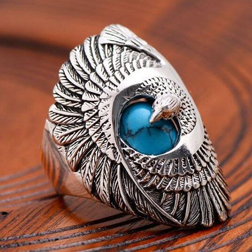 Mens Sterling Silver Turquoise Eagle Ring