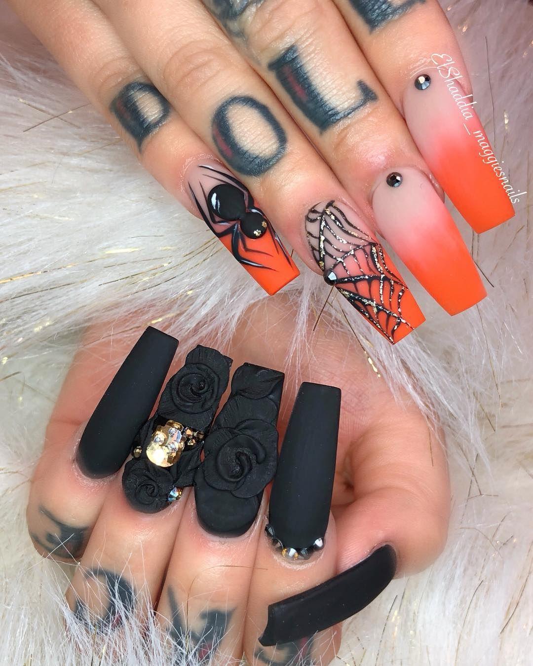 Halloween Nail Art Ideas In 2020 Black Halloween Nails Halloween Nail Designs Holloween Nails