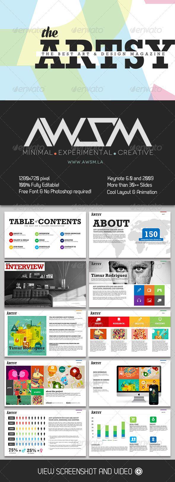 Artsy Magazine Keynote Template  Creative Keynote Templates