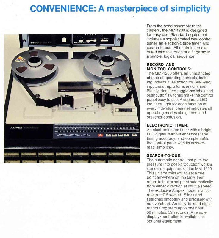 1977 Ad For The Ampex Mm 1200 Professional Multichannel Reel To