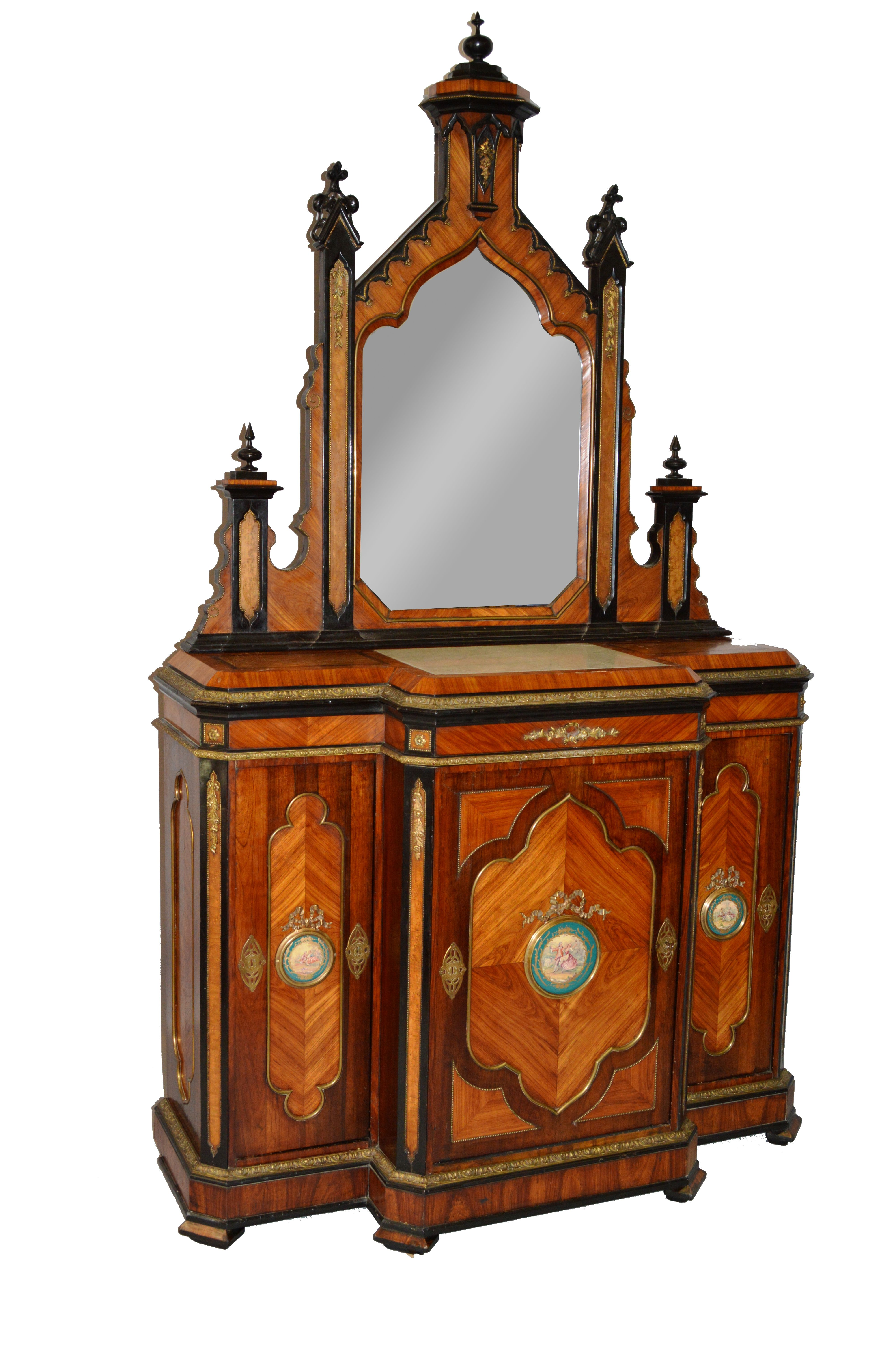 A good 19th century kingwood gothic design cabinet, attributed to Lamb of Manchester. Est. £3,000 – £4,000.
