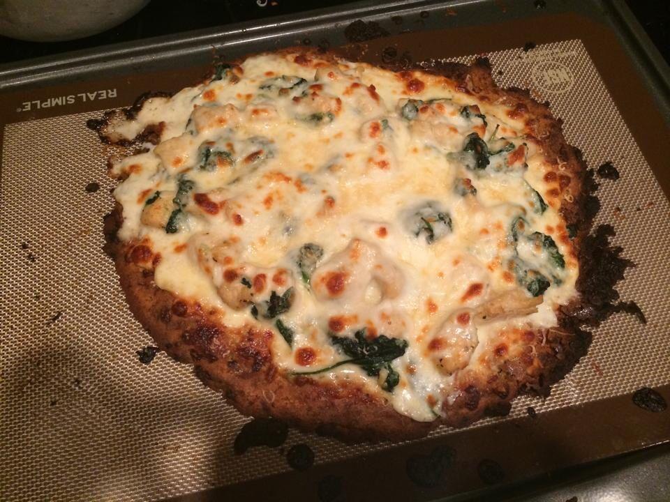 Chicken spinach Alfredo coconut flour pizza
