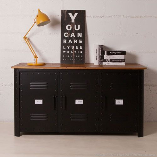 buffet 3 portes m tal gris et plateau bois style industriel decoclico factory factory. Black Bedroom Furniture Sets. Home Design Ideas