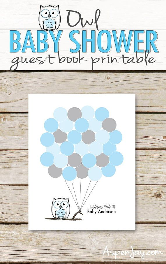 photograph regarding Baby Shower Guest Book Printable titled Blue Owl Balloon Signature Visitor E-book PRINTABLE for Boy or girl