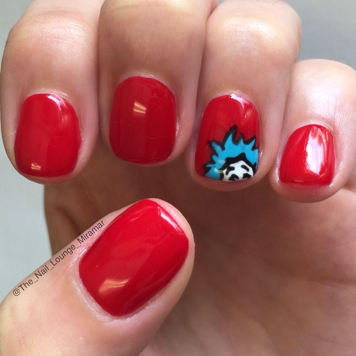 Dr Seuss Thing 1 Nail Art Design Nail Art Pinterest Nail Art