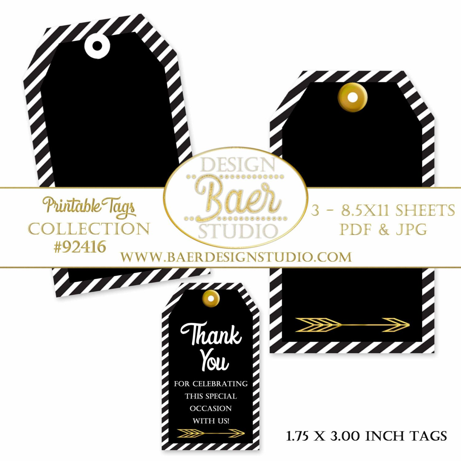 Party Favor Tags, Black and Gold Printable Tags, Back to School Tags ...