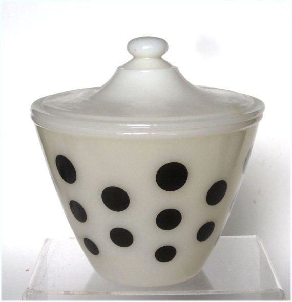 Fire King Glass Black Dots Grease Jar Or Covered Bowl On Etsy